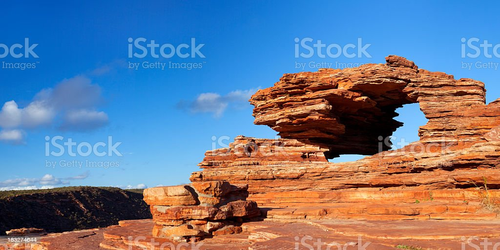 Nature's Window natural rock arch in Kalbarri NP, Western Australia stock photo