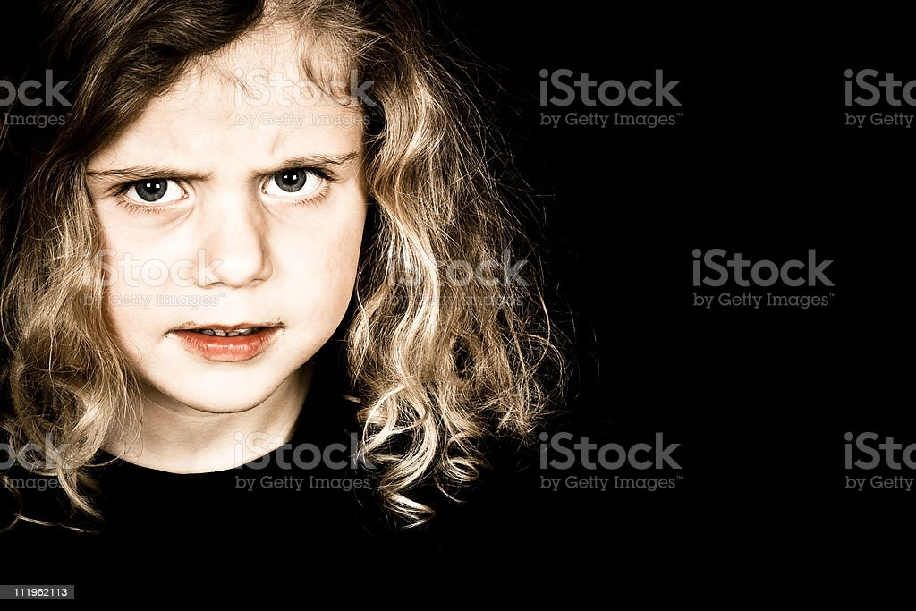 Naughty baby girl stock photo