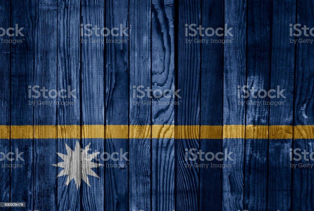 Nauru    FLAG PAINTED ON WOOD stock photo