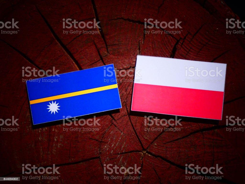 Nauru flag with Polish flag on a tree stump isolated stock photo