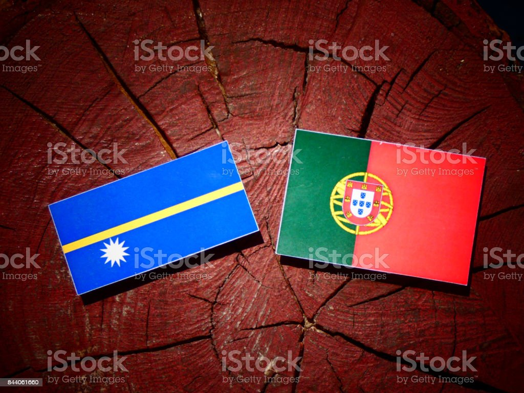 Nauru flag with Portuguese flag on a tree stump isolated stock photo