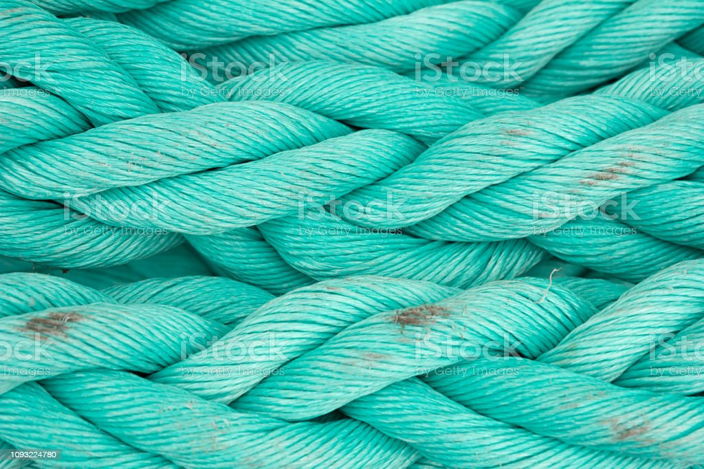 Nautical background. Old blue frayed ship rope closeup. - Royalty-free Abstrato Foto de stock