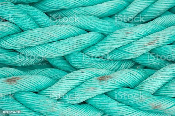 Nautical Background Old Blue Frayed Ship Rope Closeup - Fotografias de stock e mais imagens de Abstrato