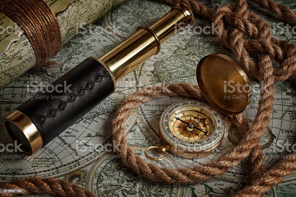 Nautical background with a navigation tools stock photo