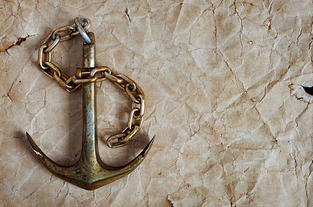 Nautical background with anchor Nautical background with ancient paper and anchor anchor athlete stock pictures, royalty-free photos & images