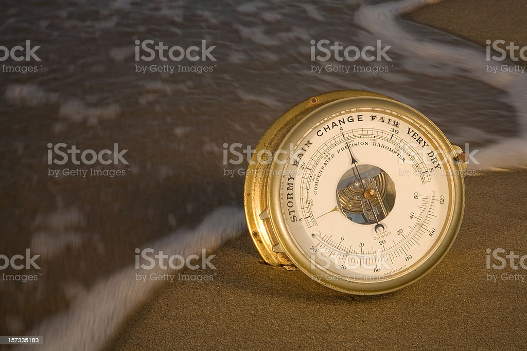 Nautical Barometer at Change stock photo