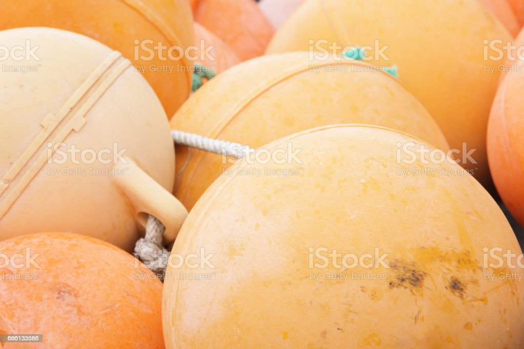 Nautical Buoys Fishing Crabbing Shrimping Industry stock photo