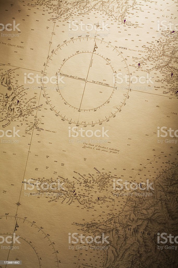Nautical chart stock photo