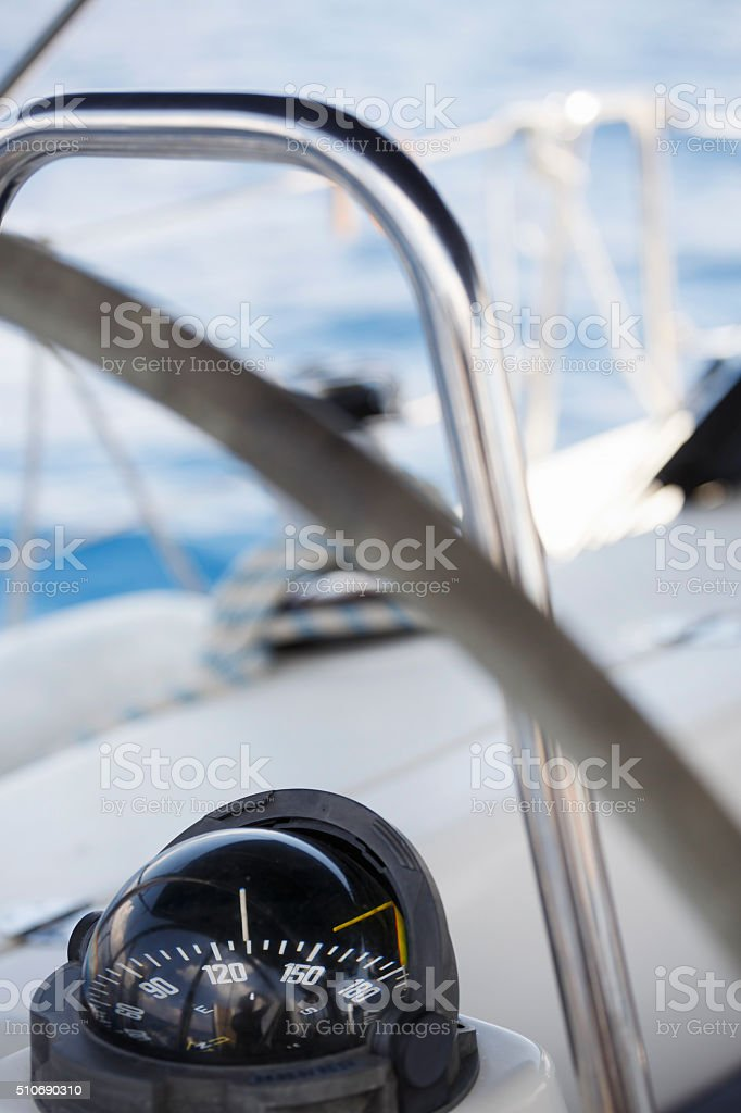 Nautical Compass  Sail boat  yacht cockpit stock photo
