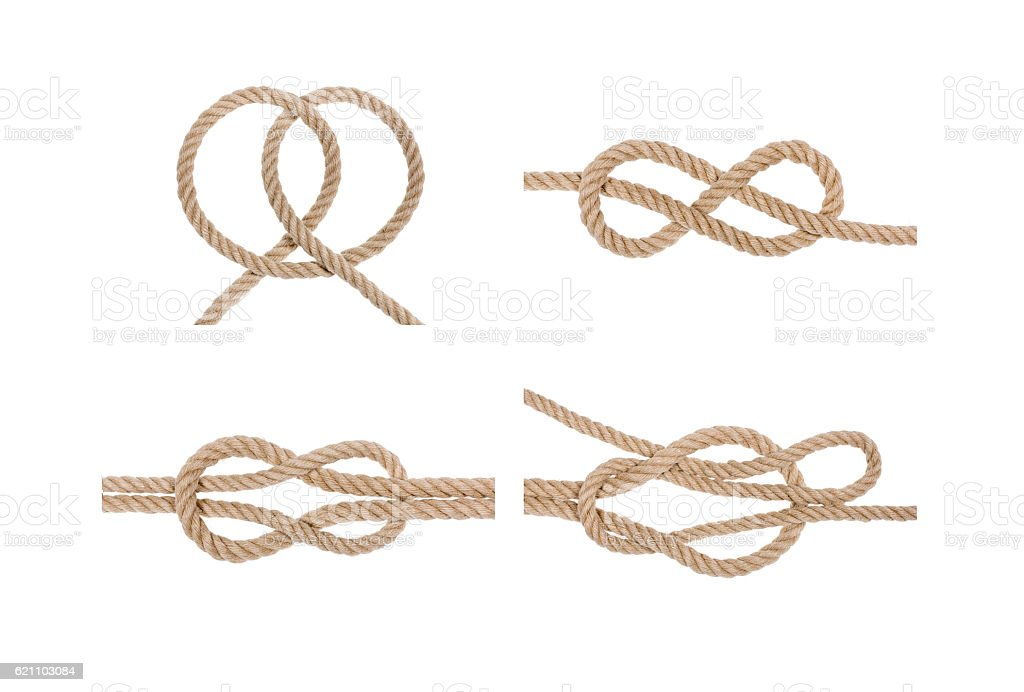 Nautical rope knot set. stock photo