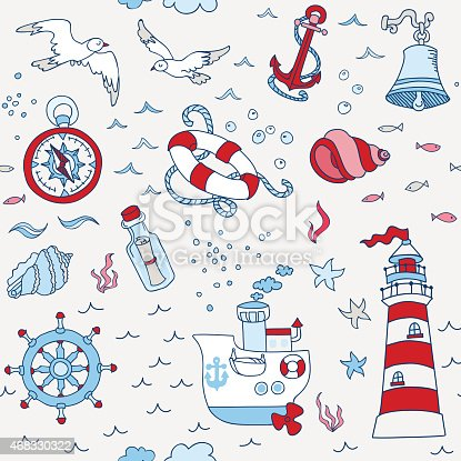 istock Nautical Sea Seamless Pattern - for scrapbook and design 468330322