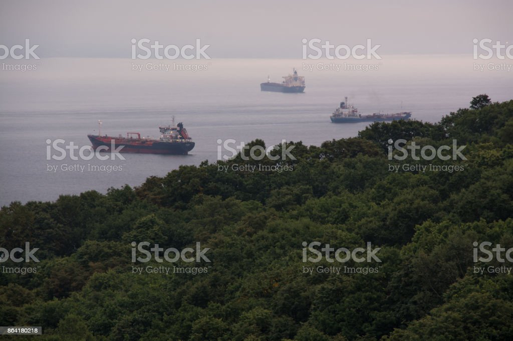 Nautical ships in a harbor at early morning. royalty-free stock photo