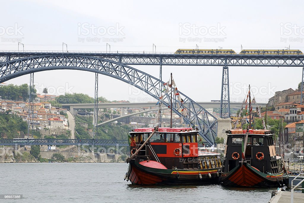 nautical vessels on the river Douro(Porto,Portugal) royalty-free stock photo