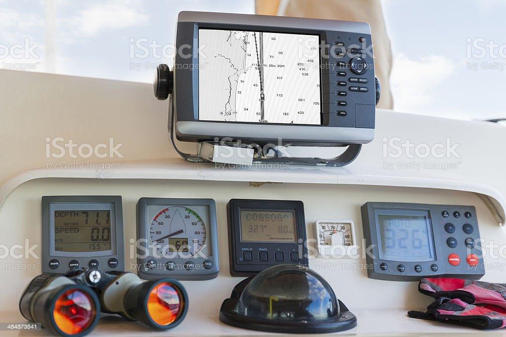 Nautical yacht cockpit stock photo