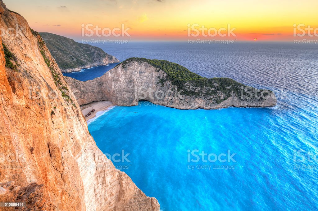 Navagio Beach (Shipwreck beach) at sunset on Zakynthos Island, Greece stock photo