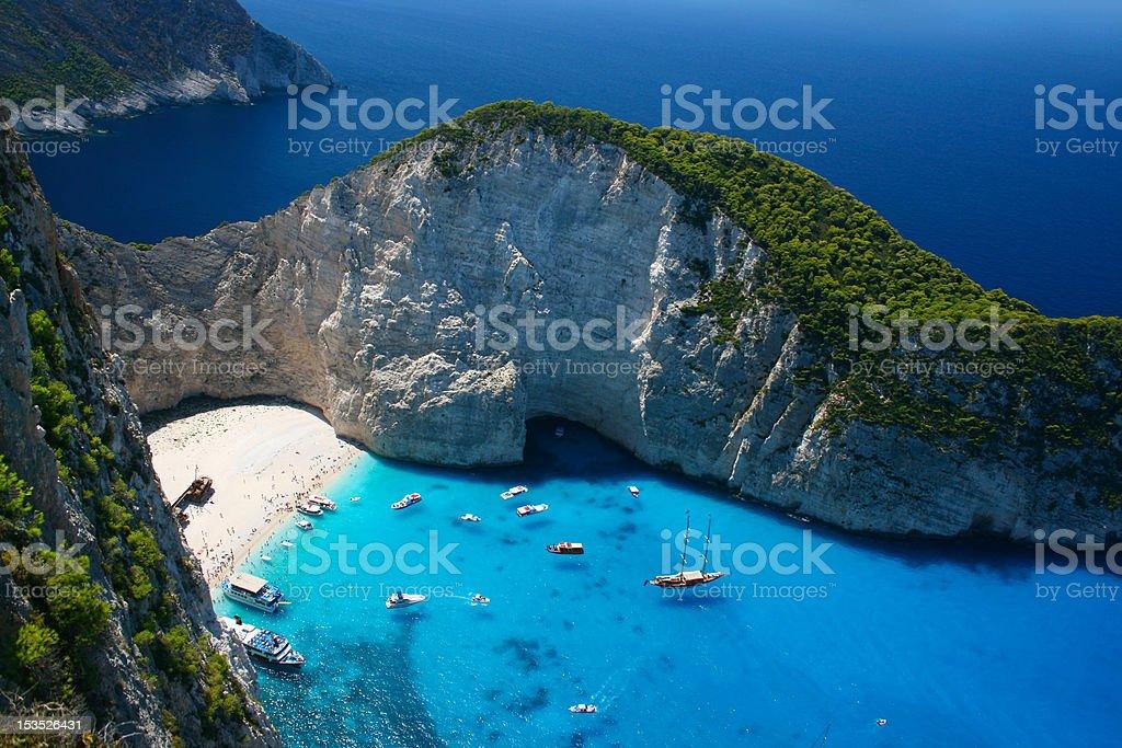 Navagio beach in Zakynthos stock photo