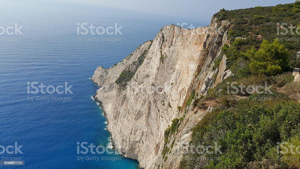 Navagio Beach panorama, Zakynthos, Greece stock photo