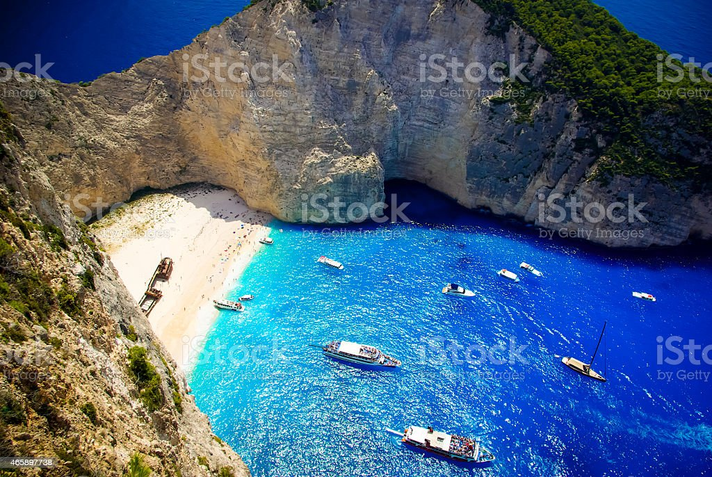 Navagio Beach - Shipwreck Beach, Zakynthos Island, Greece stock photo