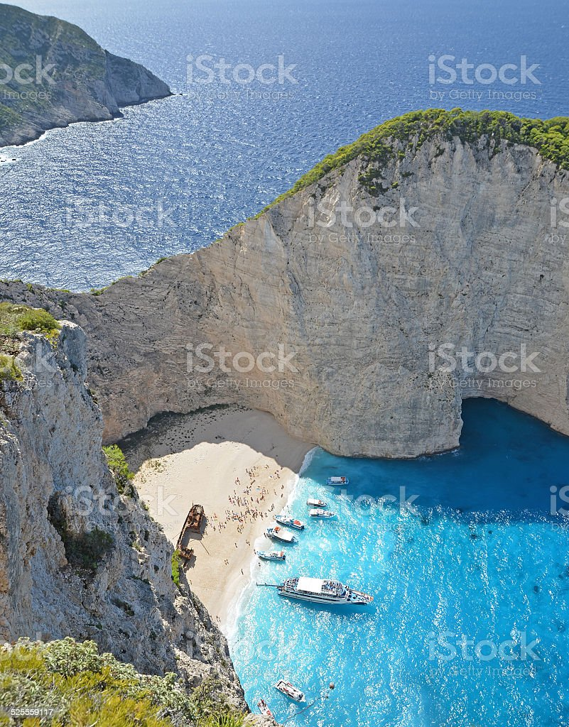 Navagio Beach, Zakynthos, Greece stock photo