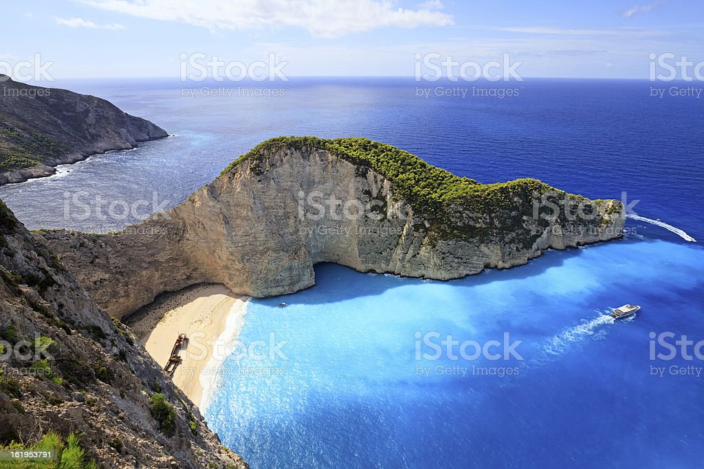 Navagio Beach, Zakynthos island, Greece stock photo