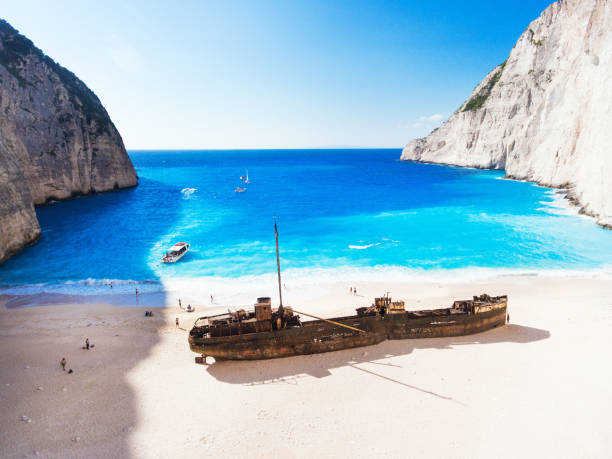 navagio beach, zakynthos island, greece - shipwreck stock pictures, royalty-free photos & images