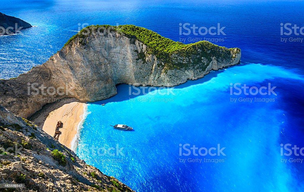 Navagio Beach (Shipwreck Beach), Zakynthos island, Greece. ProPhoto RGB. stok fotoğrafı