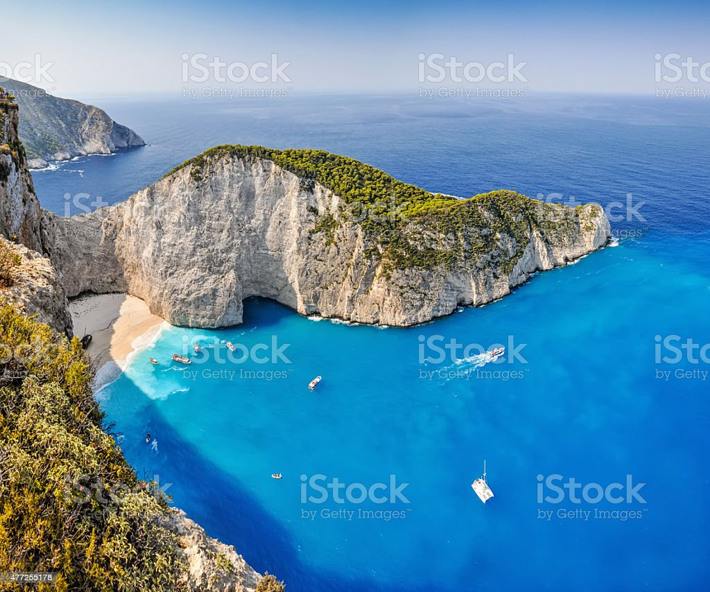 Navagio shipwreck beach, Zakynthos, Greece stock photo