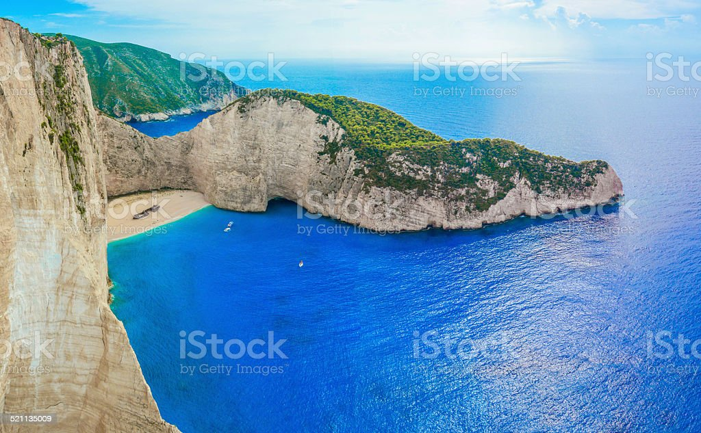 Navagio shipwreck stock photo