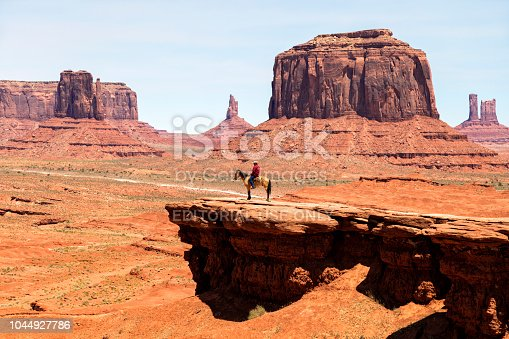 Navaho Indian on horse at John Ford's Point in Monument Valley, Arizona, USA.