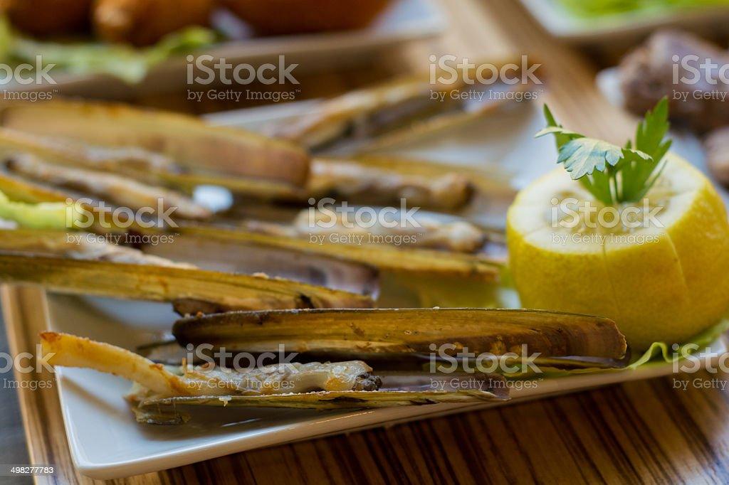 Navajas con limón y perejil royalty-free stock photo
