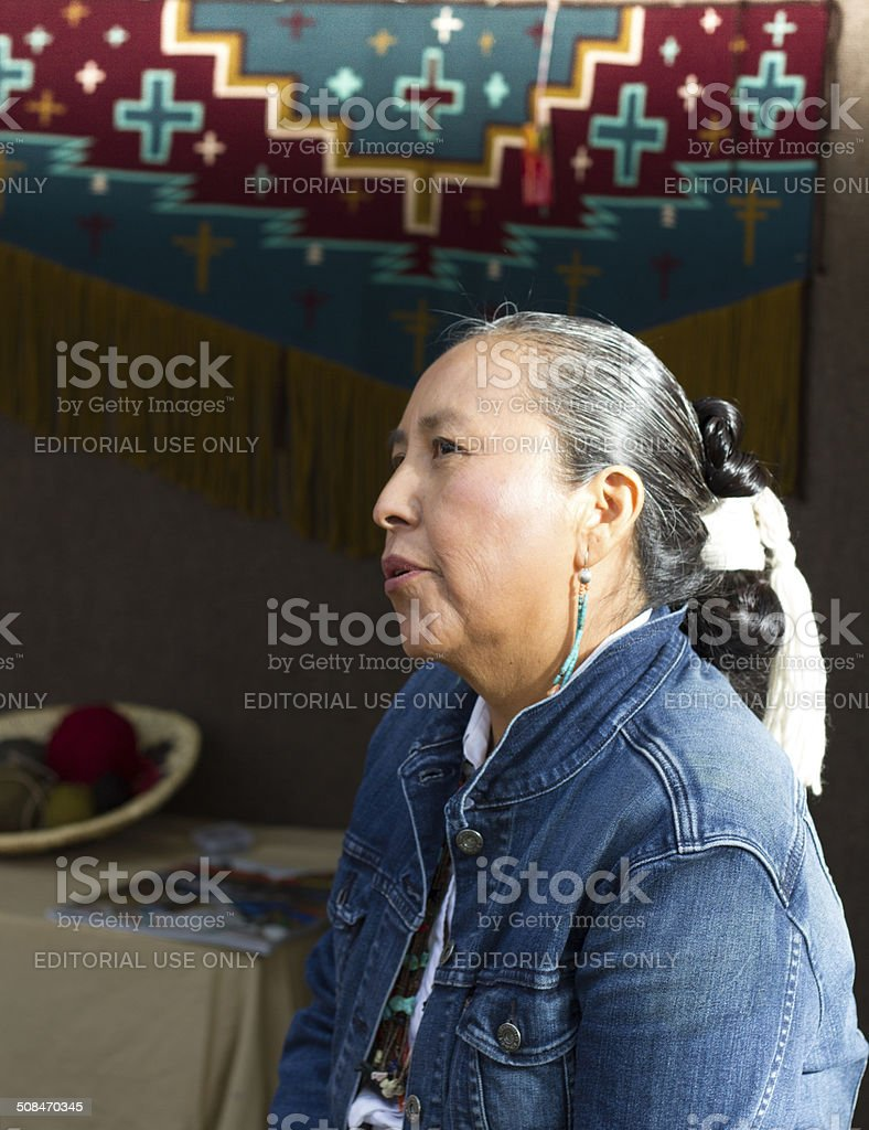 Navajo Blanket Weaver at the 2014 Santa Fe Indian Market stock photo