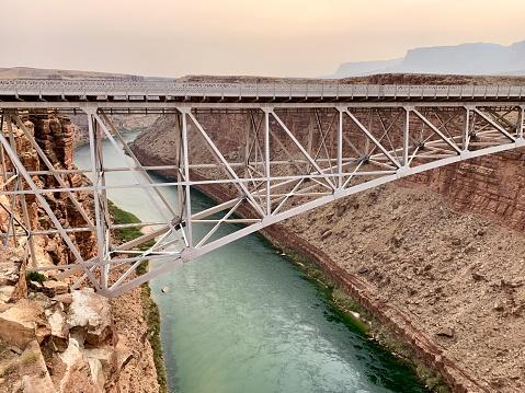 Navajo Bridge over Colorado River at Marble Canyon in Arizona, USA.