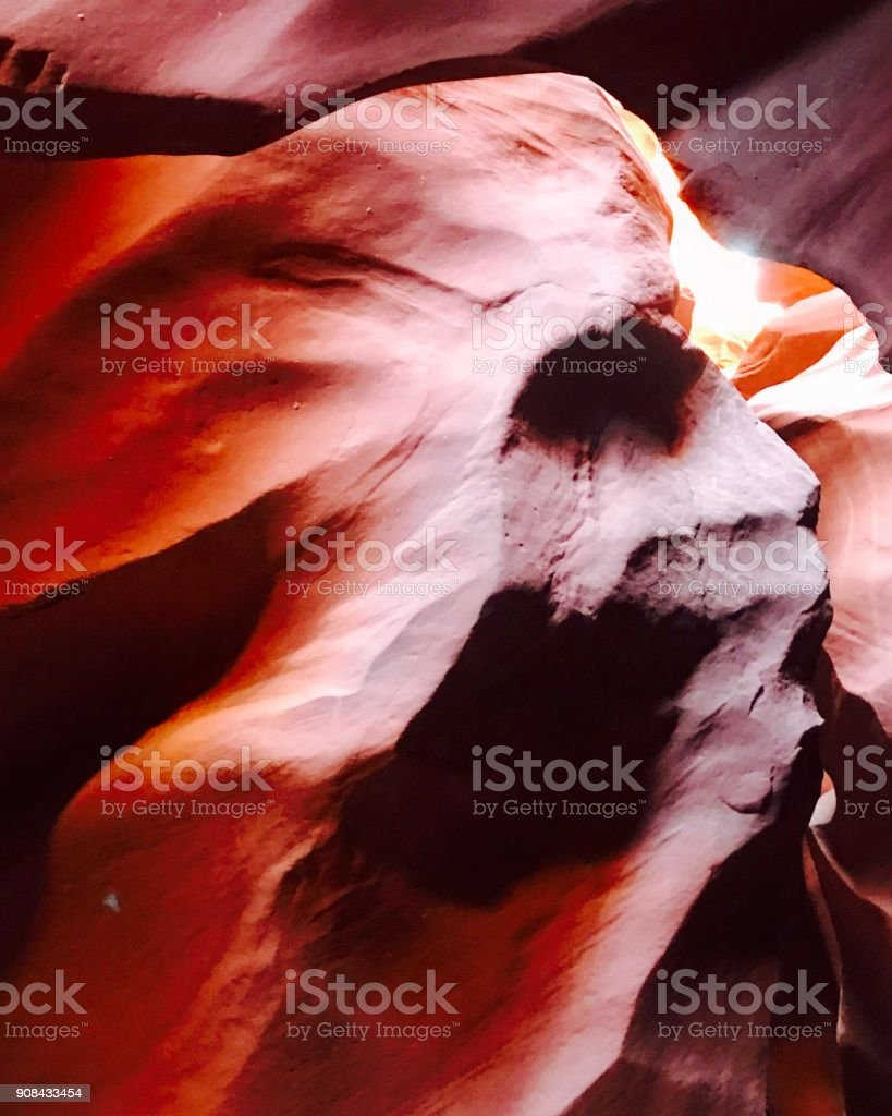 Navajo Chief's Head Formation at Lower Antelope Canyon in Page, Arizona USA stock photo