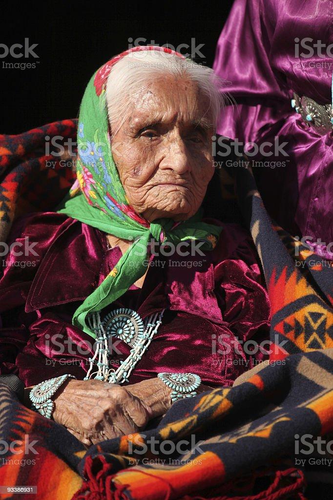 Navajo Elder Wearing Traditional Turquiose Jewelry stock photo