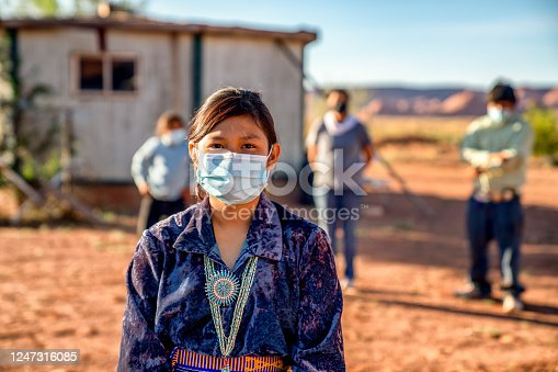 Navajo Family Social Distancing with Covid-19 Masks outside their home in Monument Valley Arizonaa