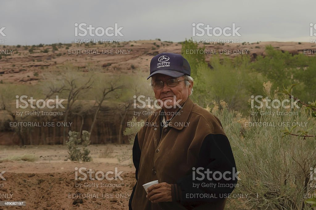 navajo man warden on his environment stock photo