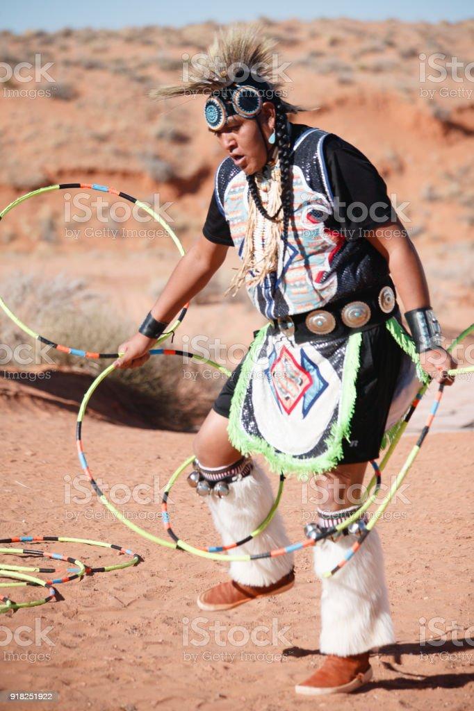 A Navajo Native American Man performing Traditional Dance stock photo