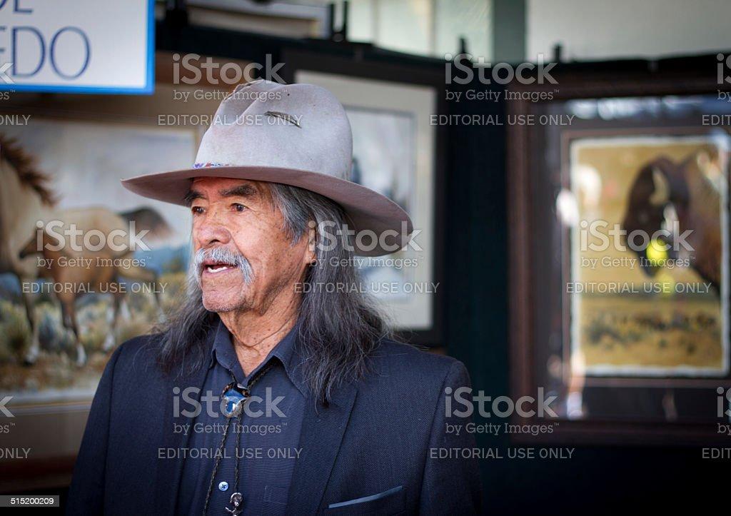 Navajo Painter at the 2014 Santa Fe Indian Market stock photo