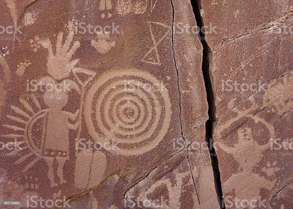 Navajo petroglyph panel in Largo Canyon, New Mexico stock photo