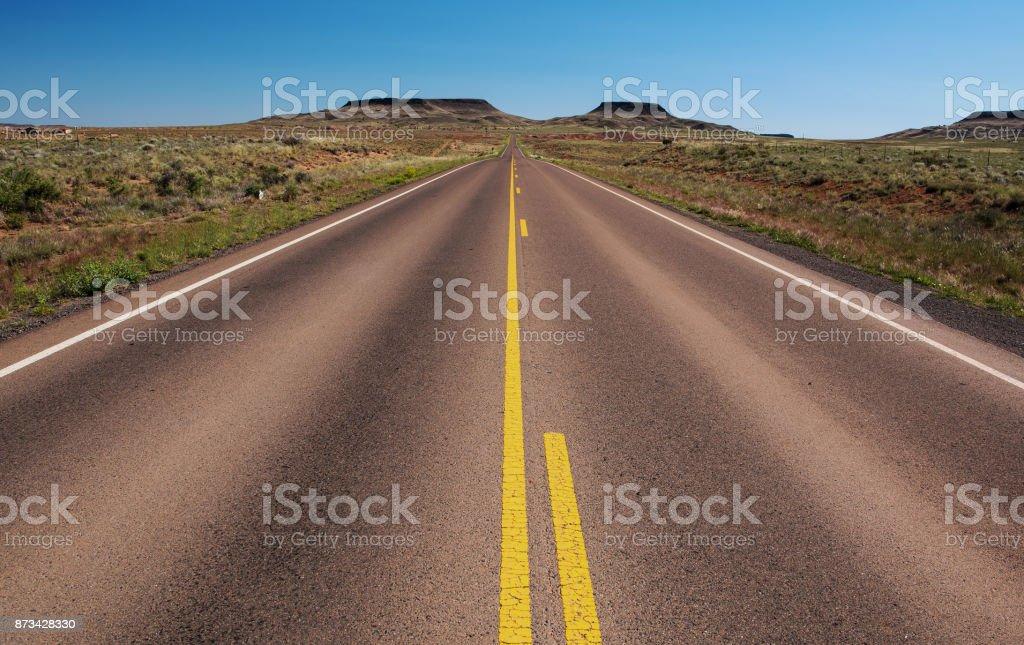 Navajo Service Route 6 near Holbrook, AZ stock photo
