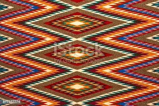 An example of a colorful traditional Navajo textile design, USA.