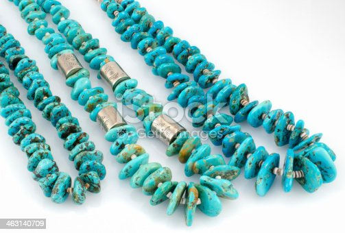 istock Navajo Turquoise Nugget Necklaces with Silver Beads. 463140709