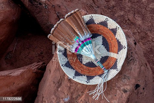 Hand woven authentic navajo wedding basket with feathers