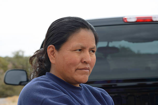 navajo woman close up stock photo