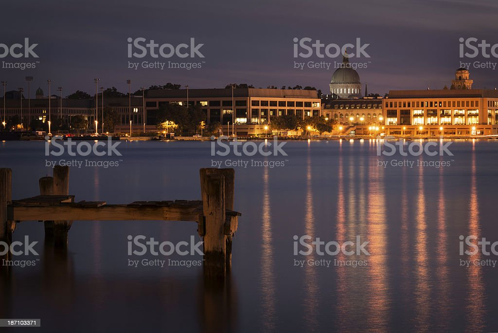 US Naval Academy from Across the Severn River at Night stock photo