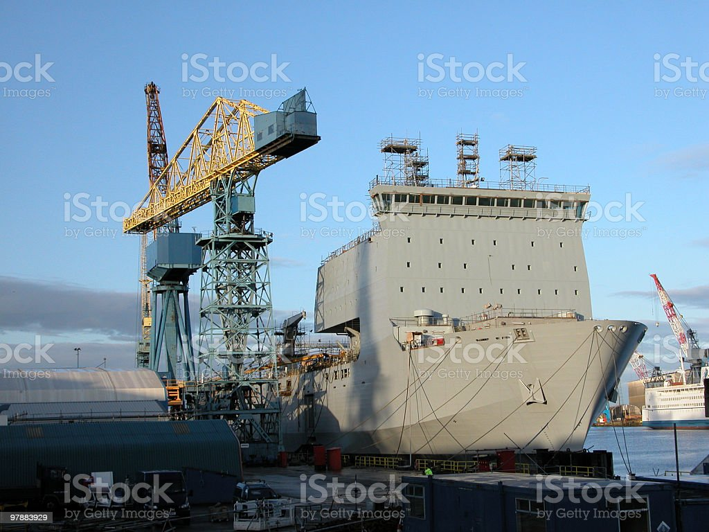 Naval Boat and Crane stock photo