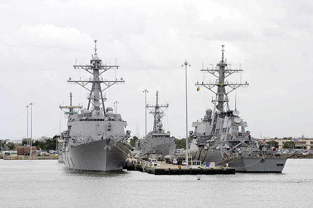 Naval Destroyers at Port  naval base stock pictures, royalty-free photos & images