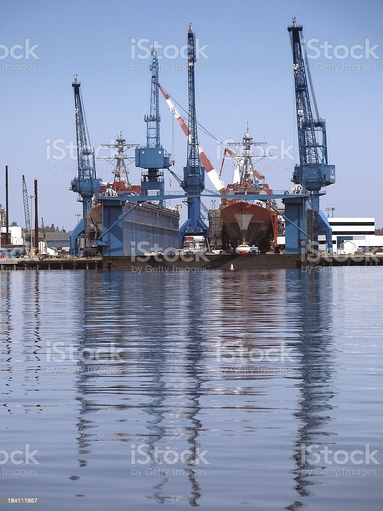 naval destroyers in dry dock royalty-free stock photo