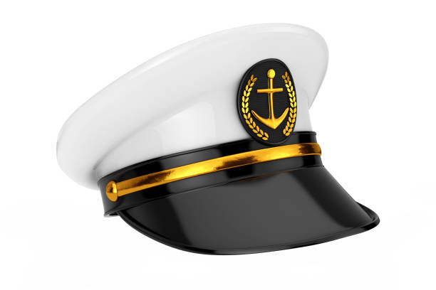 Naval Officer, Admiral, Navy Ship Captain Hat. 3d Rendering Naval Officer, Admiral, Navy Ship Captain Hat on a white background. 3d Rendering sailor hat stock pictures, royalty-free photos & images