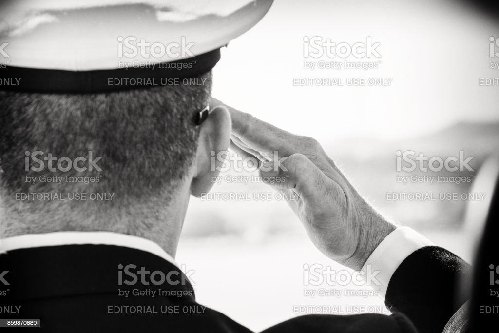 A Naval Officer Saluting stock photo